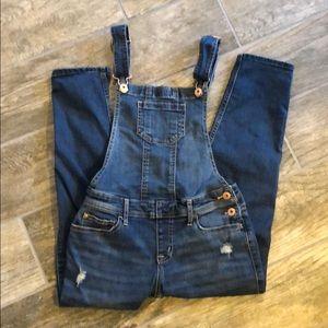 Abercrombie kids ripped overalls medium wash girls